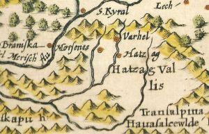 Ţara Hategului, detaliu dintr-o hartă a Transilvaniei de la 1607