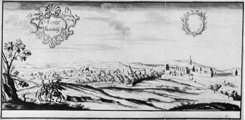 Târgu-Mureş în sec XVIII, desen de Conrad von Weiss