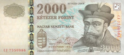 Gabriel Bethlen, pe bancnota de 2000 de forinţi