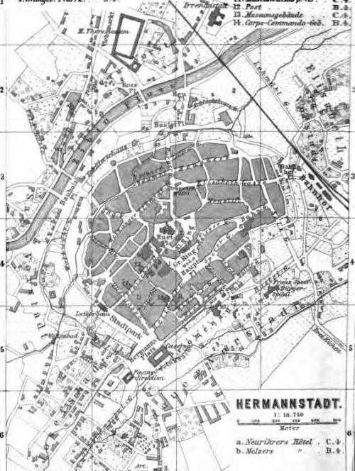 Planul Sibiului din Ghidul Baedeker 1896